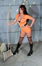 Bella Is Lookin Hot Washin The Floor In Her Orange Jumper And Black Fishnets - Picture 3