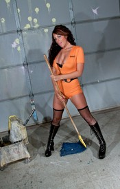 Bella Is Lookin Hot Washin The Floor In Her Orange Jumper And Black Fishnets - Picture 4