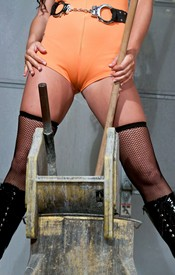 Bella Is Lookin Hot Washin The Floor In Her Orange Jumper And Black Fishnets - Picture 6