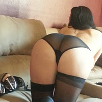 Freckles In Her Lingerie And Black Sheer Panties And Thigh Highs - Picture 12