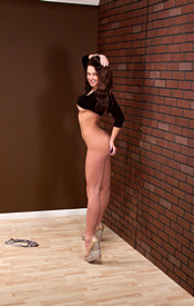 Busty Brunette Kendra In A Tight Black Dress And Heels Showing Off Her Teen Tits - Picture 11