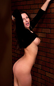 Busty Brunette Kendra In A Tight Black Dress And Heels Showing Off Her Teen Tits - Picture 13