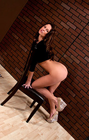 Busty Brunette Kendra In A Tight Black Dress And Heels Showing Off Her Teen Tits - Picture 14