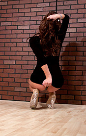 Busty Brunette Kendra In A Tight Black Dress And Heels Showing Off Her Teen Tits - Picture 6