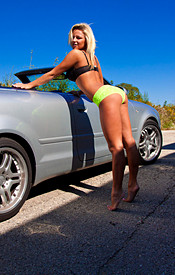 Busty Kendra Goes Topless Outside In Front Of A Nice Convertible - Picture 7
