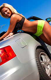 Busty Kendra Goes Topless Outside In Front Of A Nice Convertible - Picture 8