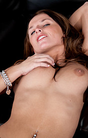 Big Titted Teen In Tight Black Pants Fondles Her Coochie On The Couch - Picture 13