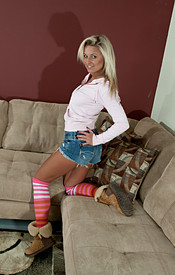 Kendra Comfy On The Couch In A Tight Zip Up With No Bra On And Tight Jean Shorts - Picture 1