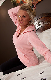 Kendra Relaxing On The Bed With Her Sweats On Showing Off Her Perfect Breasts - Picture 1