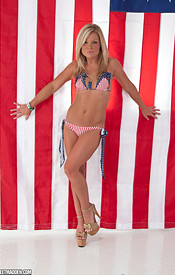 Sexy Blonde Madden Here To Celebrate Independence Day In Her Aviators And Stars And Stripes Bikini - Picture 4