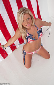 Sexy Blonde Madden Here To Celebrate Independence Day In Her Aviators And Stars And Stripes Bikini - Picture 8