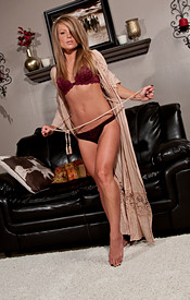 Madden Looks Sexy In Her Duster With Just A Bra And Panties Underneath - Picture 6
