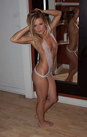 Sexy Madden Wearing White Lace And Drenched In Oil - Picture 11