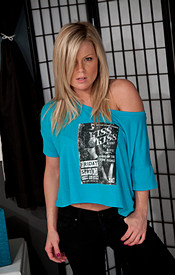 Sultry Blonde Madden Wearing A Loose Shirt With No Bra On. - Picture 1