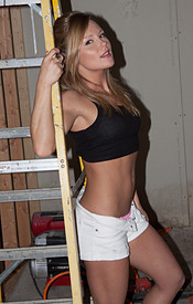 Madden Looking Sexy Atop A Ladder In Her Short Shorts And Tank Top - Picture 3