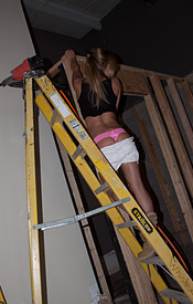 Madden Looking Sexy Atop A Ladder In Her Short Shorts And Tank Top - Picture 5