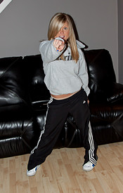 Petite Blonde Maddie Chilin On The Couch In Sweats Till She Strips Down To A Little Pair Of Panties - Picture 2