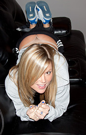 Petite Blonde Maddie Chilin On The Couch In Sweats Till She Strips Down To A Little Pair Of Panties - Picture 3