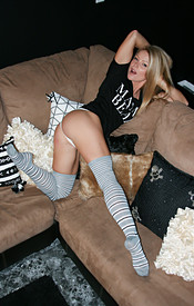 Madden Looking Cute In Her Knee High Socks And Panties - Picture 3