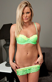 Bright Neon Green Bra And Panties On The Tanned Blonde Babe Madden - Picture 6