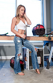 Meet Madden Doing Some Construction In A White Tank Top And Jeans - Picture 4
