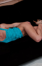 Madden In A Sexy Turquoise Nighty With No Panties On - Picture 6
