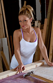 Meet Madden Working On A Project In Her Thong And Tank Top - Picture 1