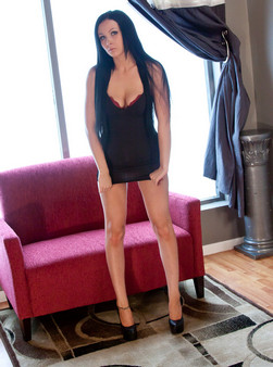 Sabrina Sins In A Tight Black Dress, Panties Wrapped Around Her Ankles And Showing Off Her Sexy Body - Picture 1