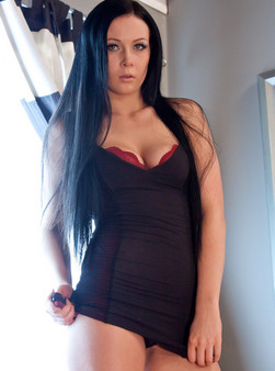 Sabrina Sins In A Tight Black Dress, Panties Wrapped Around Her Ankles And Showing Off Her Sexy Body - Picture 3