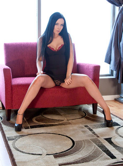 Sabrina Sins In A Tight Black Dress, Panties Wrapped Around Her Ankles And Showing Off Her Sexy Body - Picture 5