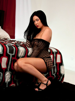 Sabrina Looks Hot With Her Ruby Red Lips And Black Mesh Outfit - Picture 9