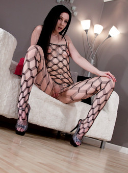 Sabrina Sins In Full On Body Mesh And Doin Work With Her Hitachi - Picture 2