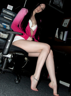 Sabrina Getting Naughty In The Office And Showing Off Her Shaved Teen Pussy - Picture 4