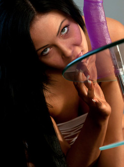 Sabrina Sins In White Mesh Fucks Her Purple Dildo On A Glass Table - Picture 13
