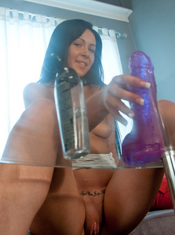 Sabrina Sins In White Mesh Fucks Her Purple Dildo On A Glass Table - Picture 14