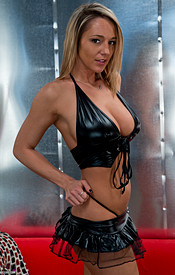 Nikki Sims In Black Vinyl With Her Tits Busting Out Of Her Halter Top - Picture 4