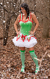 Nikki The Naked Elf In The Woods Wishes You A Merry Christmas - Picture 1