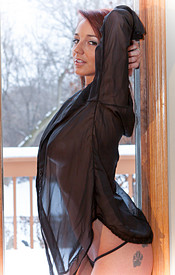Nikki Looks Sexy As Hell In Her Sheer Robe On A Cold Winter Morning - Picture 14