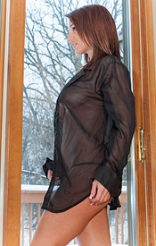 Nikki Looks Sexy As Hell In Her Sheer Robe On A Cold Winter Morning - Picture 9