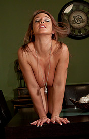 Nikki Sims Is Dressed For Dinner In Her Button Down Shirt And Slacks With A Lace Bra Peeking Through - Picture 14