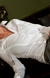 Nikki Sims Is Dressed For Dinner In Her Button Down Shirt And Slacks With A Lace Bra Peeking Through - Picture 2