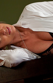 Nikki Sims Is Dressed For Dinner In Her Button Down Shirt And Slacks With A Lace Bra Peeking Through - Picture 4