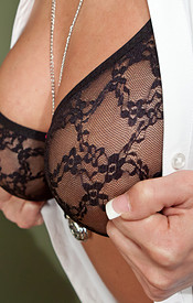 Nikki Sims Is Dressed For Dinner In Her Button Down Shirt And Slacks With A Lace Bra Peeking Through - Picture 7