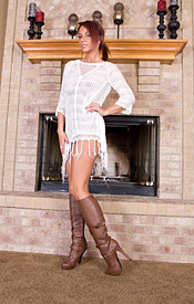 Nikki Sims Sans Panties And Bra Gets Hot By The Fireplace - Picture 2