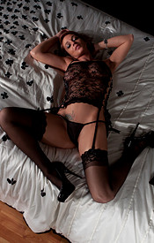 Nikki Wearing A Lace Nighty And A G String Bent Over On The Bed - Picture 5