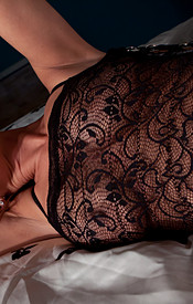 Nikki Wearing A Lace Nighty And A G String Bent Over On The Bed - Picture 6