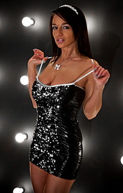 Black Sparkly Dress And Pasties With No Panties On For Nikki Sims New Years Eve Outfit - Picture 4