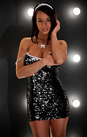 Black Sparkly Dress And Pasties With No Panties On For Nikki Sims New Years Eve Outfit - Picture 5