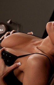 Nikki In A Black Baby Doll With No Panties On Grabbing Those Huge Boobs Of Hers - Picture 4