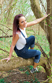 Busty Nikki Out In The Woods Looking Sexy In Her Overalls And Tight White Shirt - Picture 2